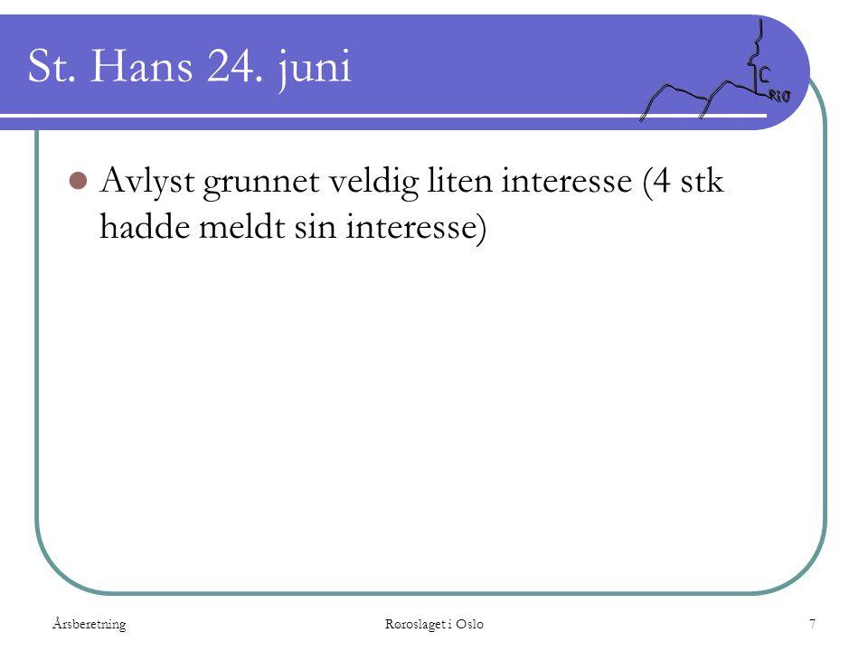 St. Hans 24. juni Avlyst grunnet veldig liten interesse (4 stk hadde meldt sin interesse) Årsberetning.
