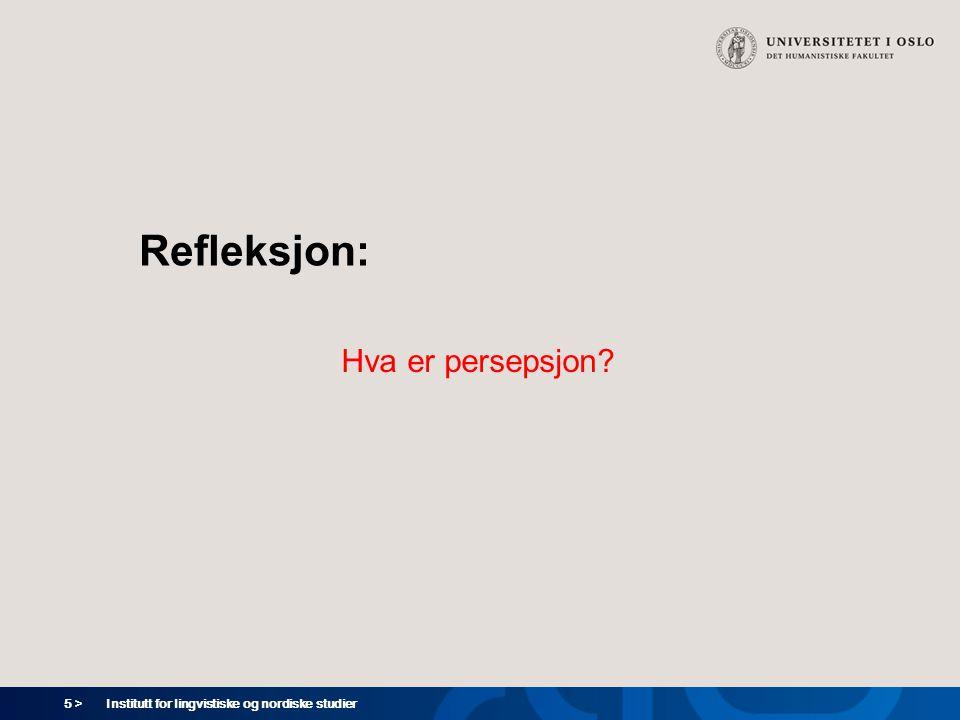Refleksjon: Hva er persepsjon