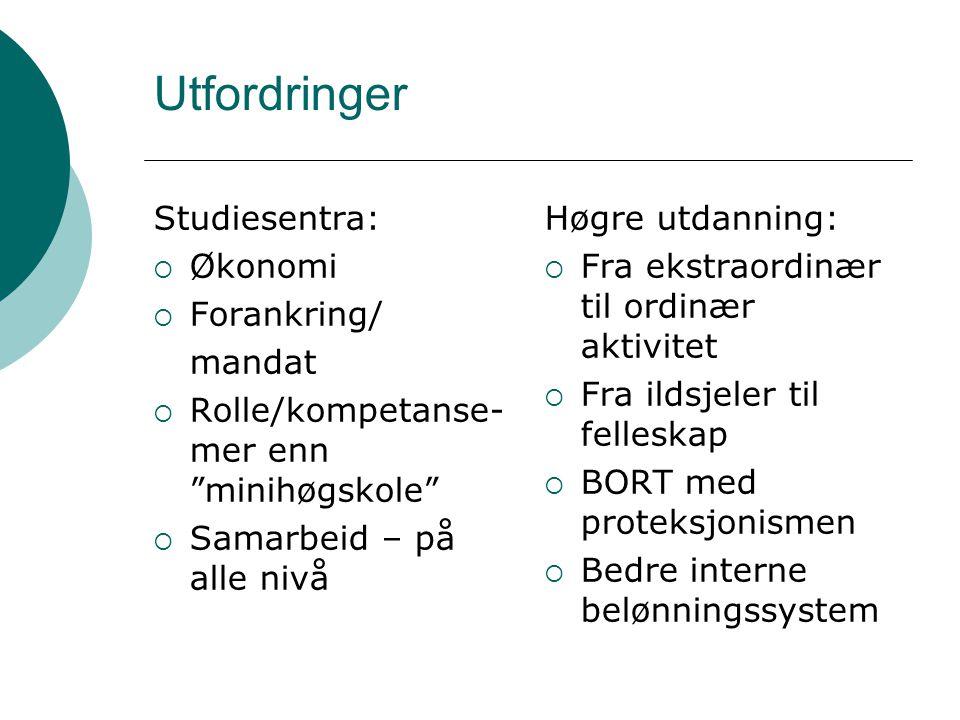 Utfordringer Studiesentra: Økonomi Forankring/ mandat