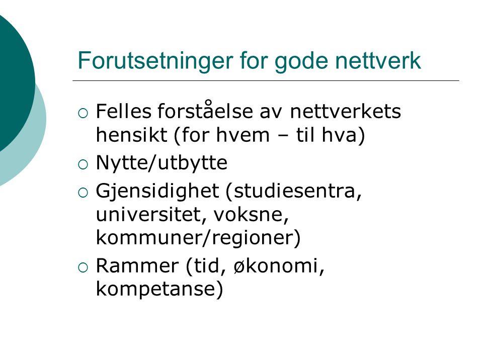 Forutsetninger for gode nettverk