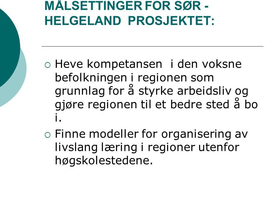 MÅLSETTINGER FOR SØR - HELGELAND PROSJEKTET: