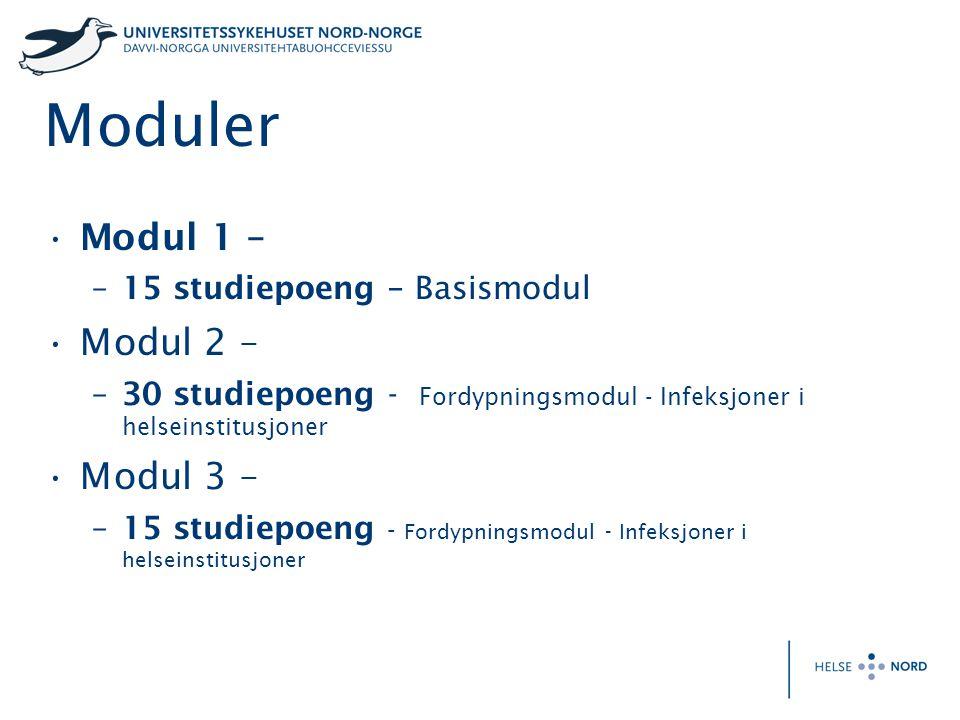 Moduler Modul 1 – Modul 2 – Modul 3 – 15 studiepoeng – Basismodul