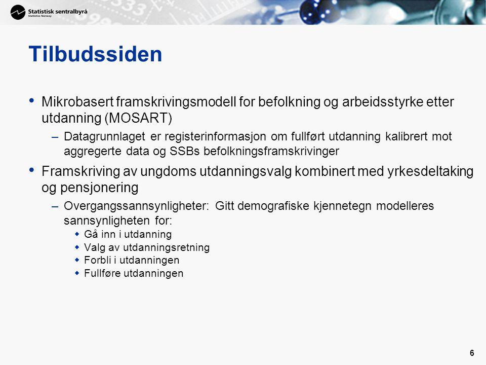 Tilbudssiden Mikrobasert framskrivingsmodell for befolkning og arbeidsstyrke etter utdanning (MOSART)