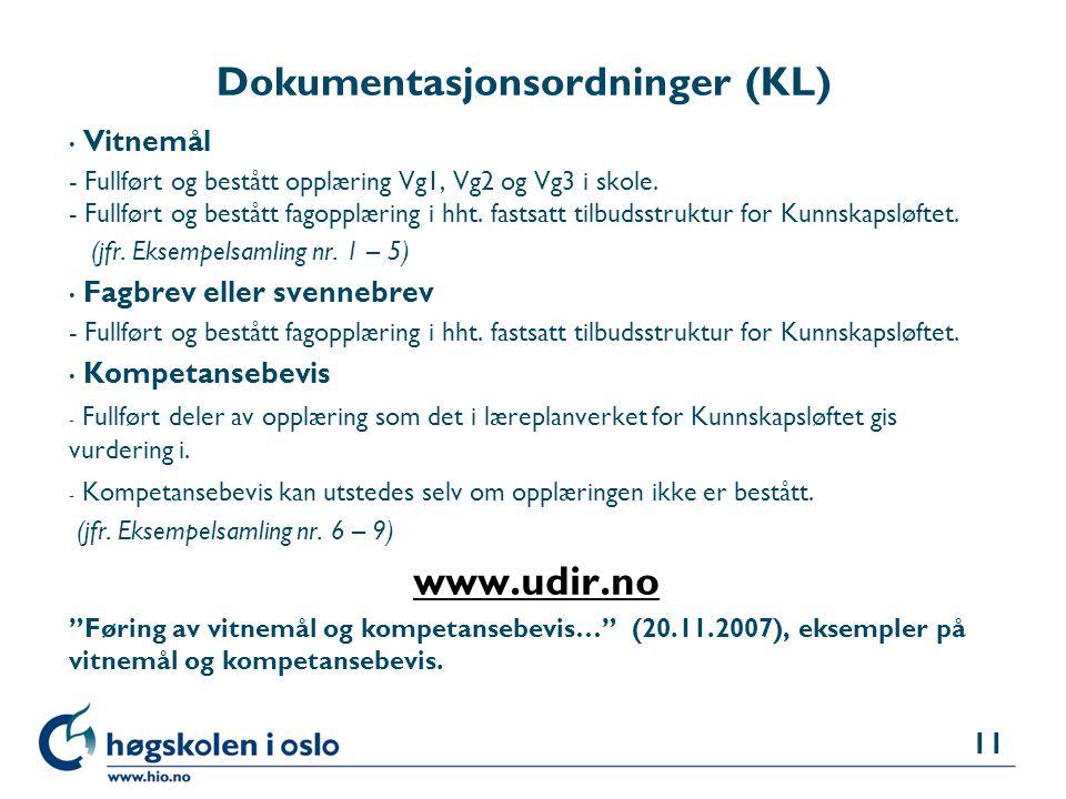 Dokumentasjonsordninger (KL)