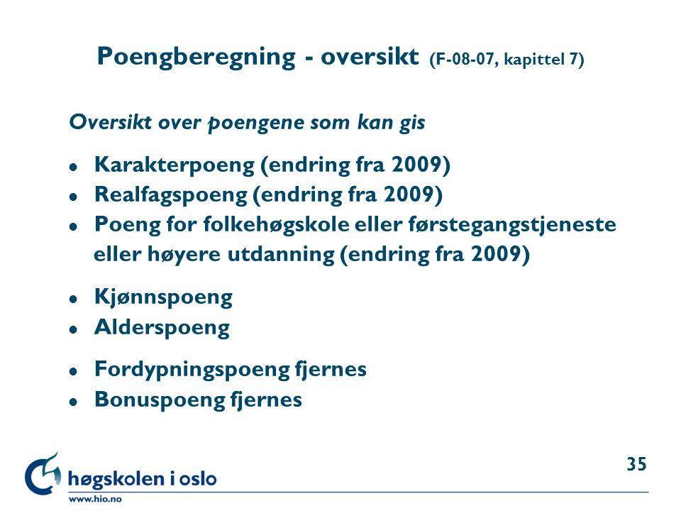 Poengberegning - oversikt (F-08-07, kapittel 7)