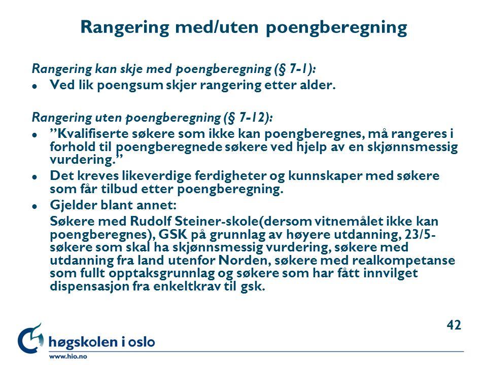 Rangering med/uten poengberegning