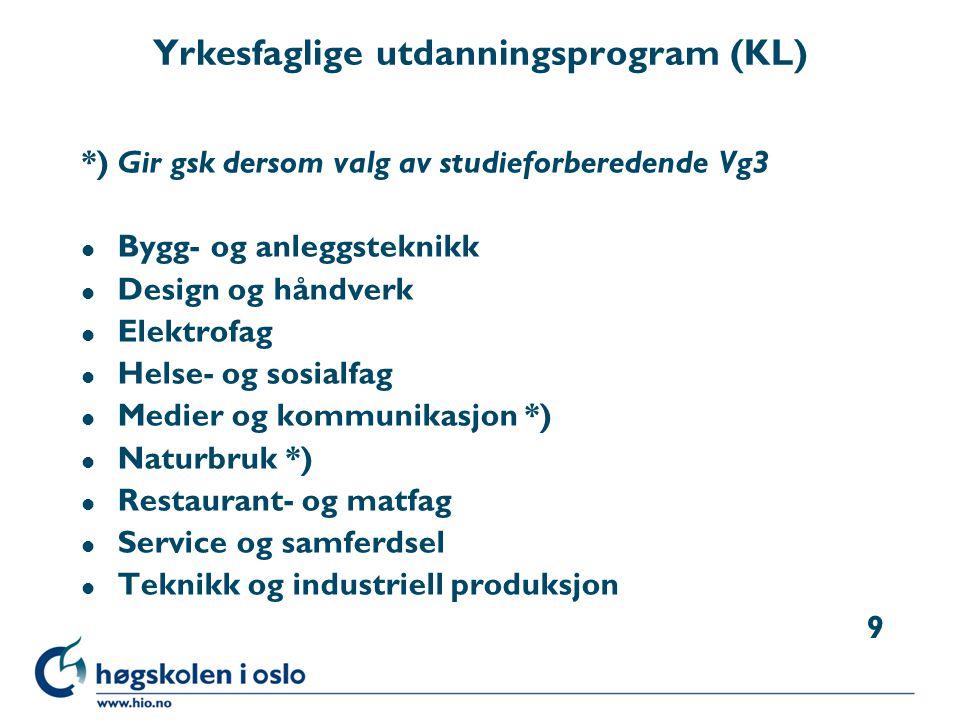 Yrkesfaglige utdanningsprogram (KL)