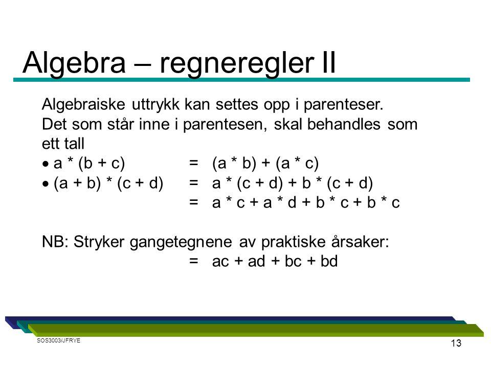 Algebra – regneregler II