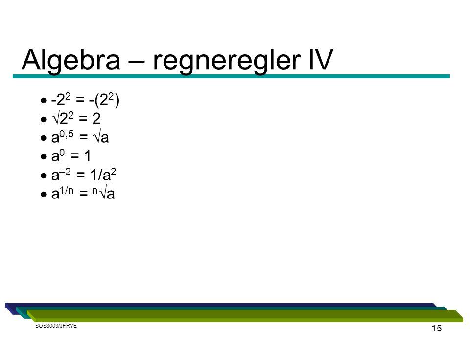 Algebra – regneregler IV