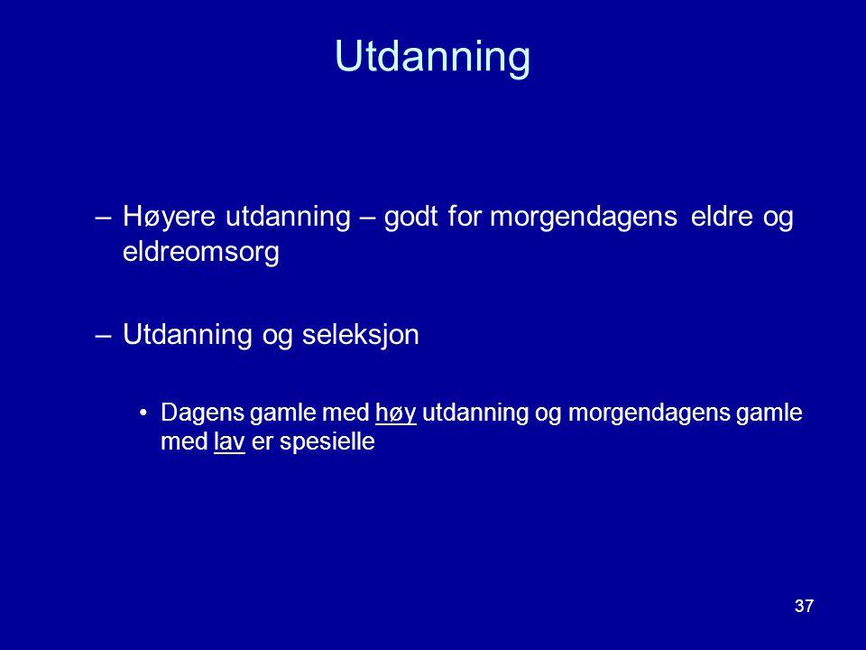 Utdanning Høyere utdanning – godt for morgendagens eldre og eldreomsorg. Utdanning og seleksjon.