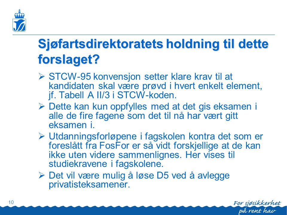 Sjøfartsdirektoratets holdning til dette forslaget