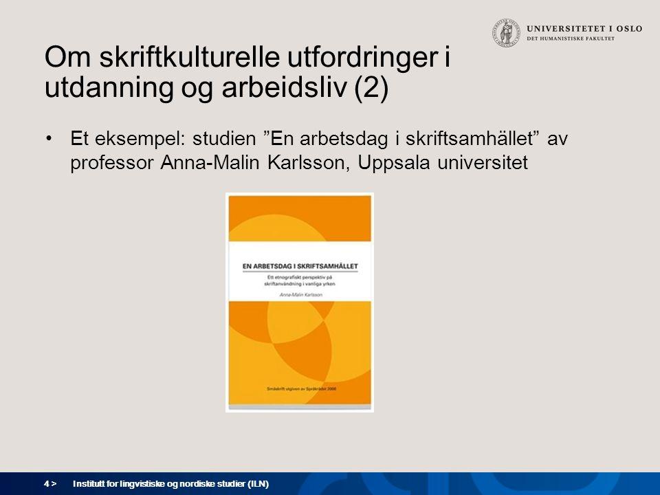 Om skriftkulturelle utfordringer i utdanning og arbeidsliv (2)