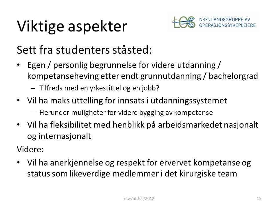Viktige aspekter Sett fra studenters ståsted:
