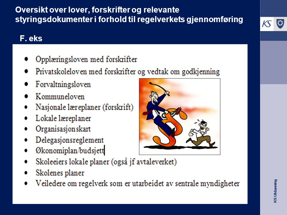 Oversikt over lover, forskrifter og relevante styringsdokumenter i forhold til regelverkets gjennomføring F.