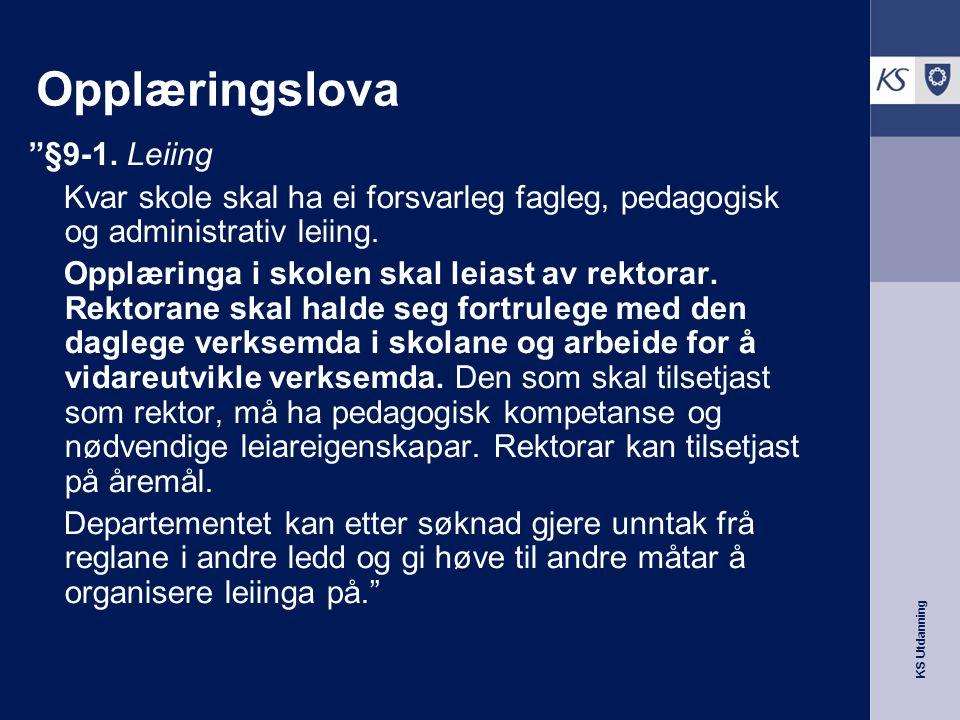 Opplæringslova §9-1. Leiing