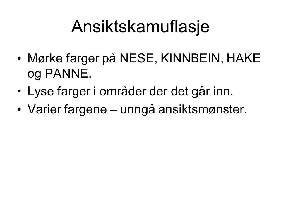 Ansiktskamuflasje Mørke farger på NESE, KINNBEIN, HAKE og PANNE.