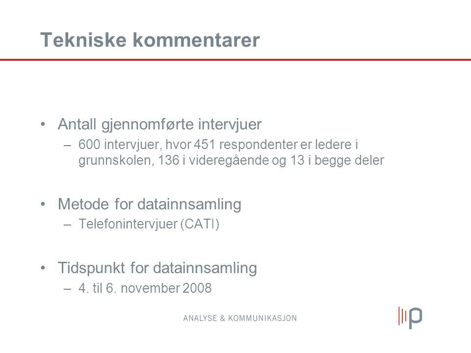 Tekniske kommentarer Antall gjennomførte intervjuer