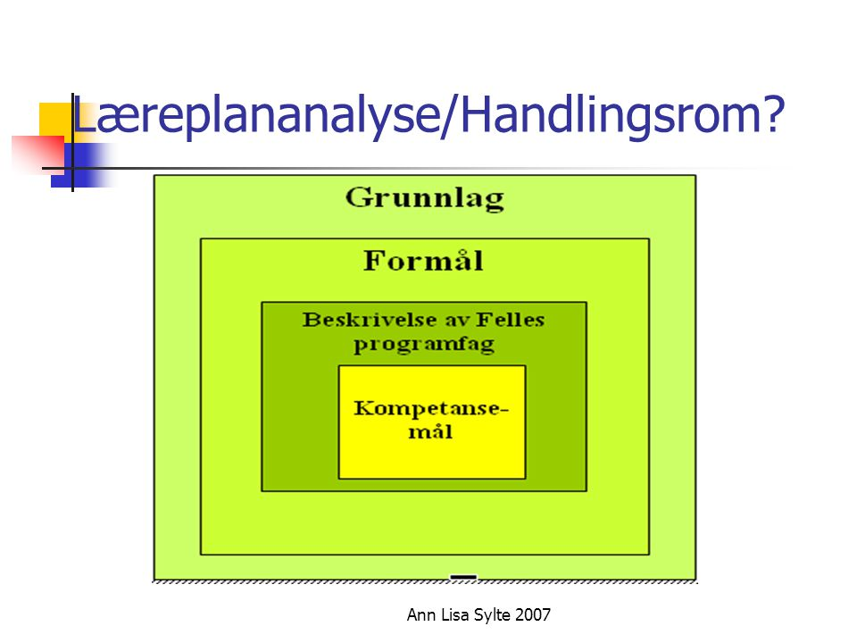 Læreplananalyse/Handlingsrom