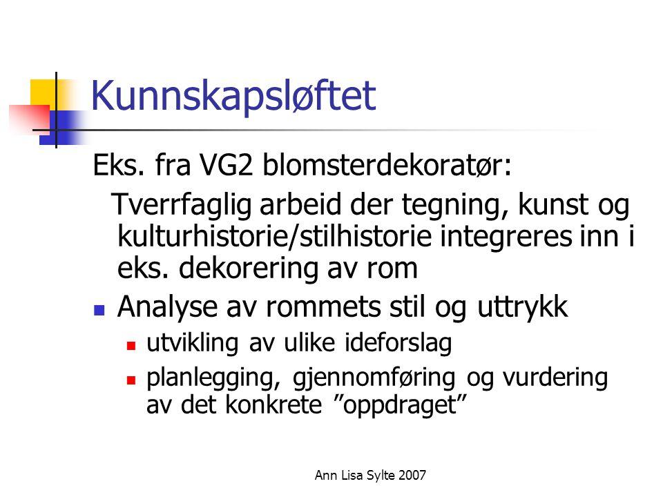 Kunnskapsløftet Eks. fra VG2 blomsterdekoratør:
