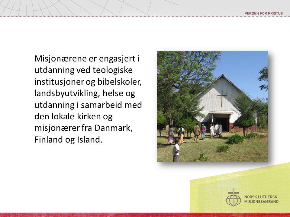 Misjonærene er engasjert i utdanning ved teologiske institusjoner og bibelskoler, landsbyutvikling, helse og utdanning i samarbeid med den lokale kirken og misjonærer fra Danmark, Finland og Island.