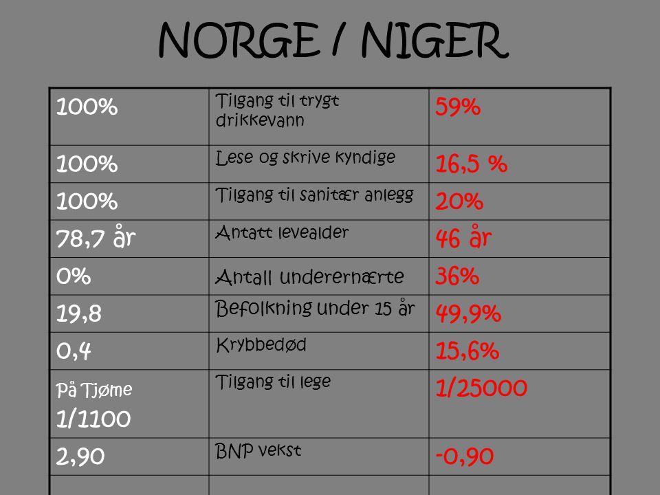 NORGE / NIGER 100% 59% 16,5 % 20% 78,7 år 46 år 0% 36% 19,8 49,9% 0,4