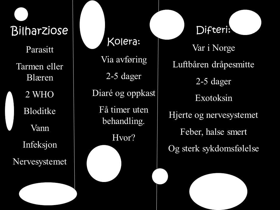 Bilharziose Difteri: Var i Norge Parasitt Kolera: Tarmen eller Blæren