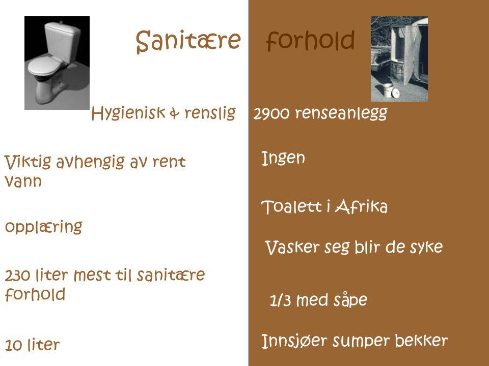 Sanitære forhold Hygienisk & renslig 2900 renseanlegg Ingen