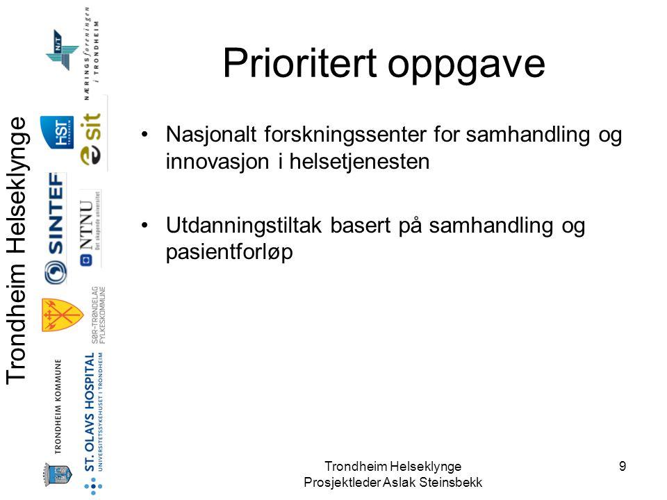 Prioritert oppgave Nasjonalt forskningssenter for samhandling og innovasjon i helsetjenesten.