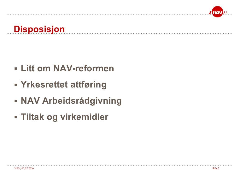 Disposisjon Litt om NAV-reformen Yrkesrettet attføring NAV Arbeidsrådgivning Tiltak og virkemidler