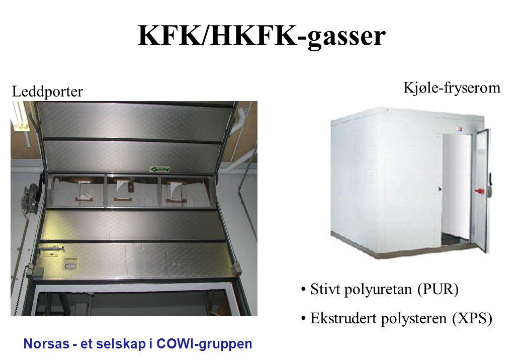 KFK/HKFK-gasser Kjøle-fryserom Leddporter Stivt polyuretan (PUR)