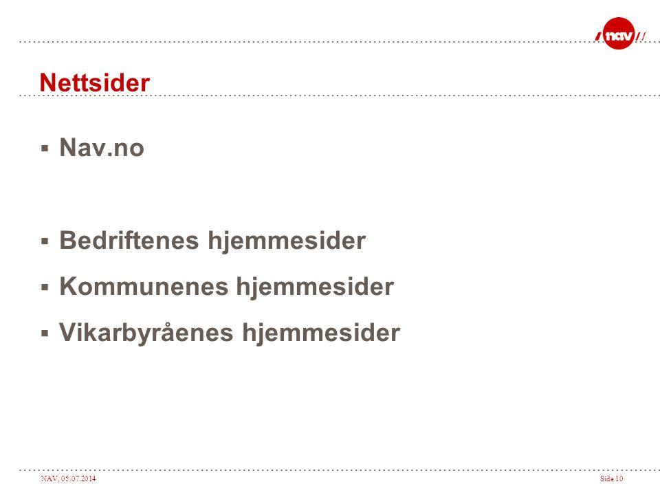 Nettsider Nav.no Bedriftenes hjemmesider Kommunenes hjemmesider Vikarbyråenes hjemmesider
