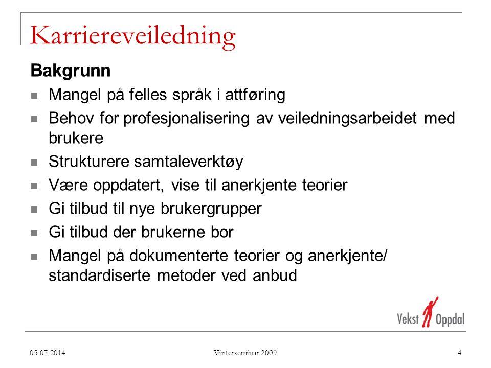 Karriereveiledning Bakgrunn Mangel på felles språk i attføring