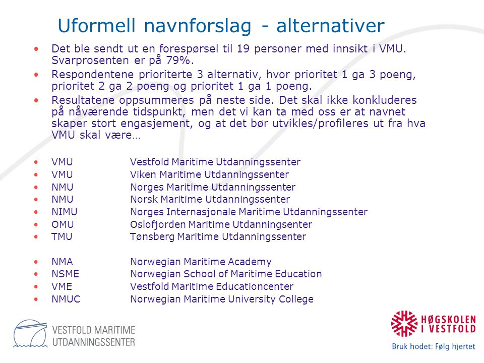 Uformell navnforslag - alternativer
