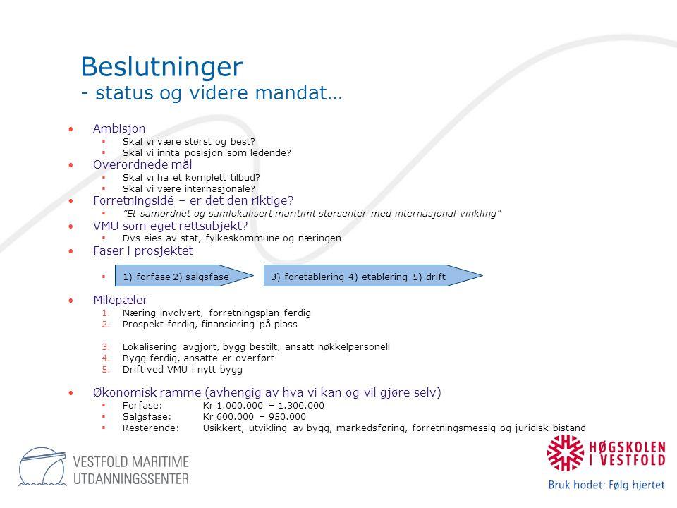 Beslutninger - status og videre mandat…