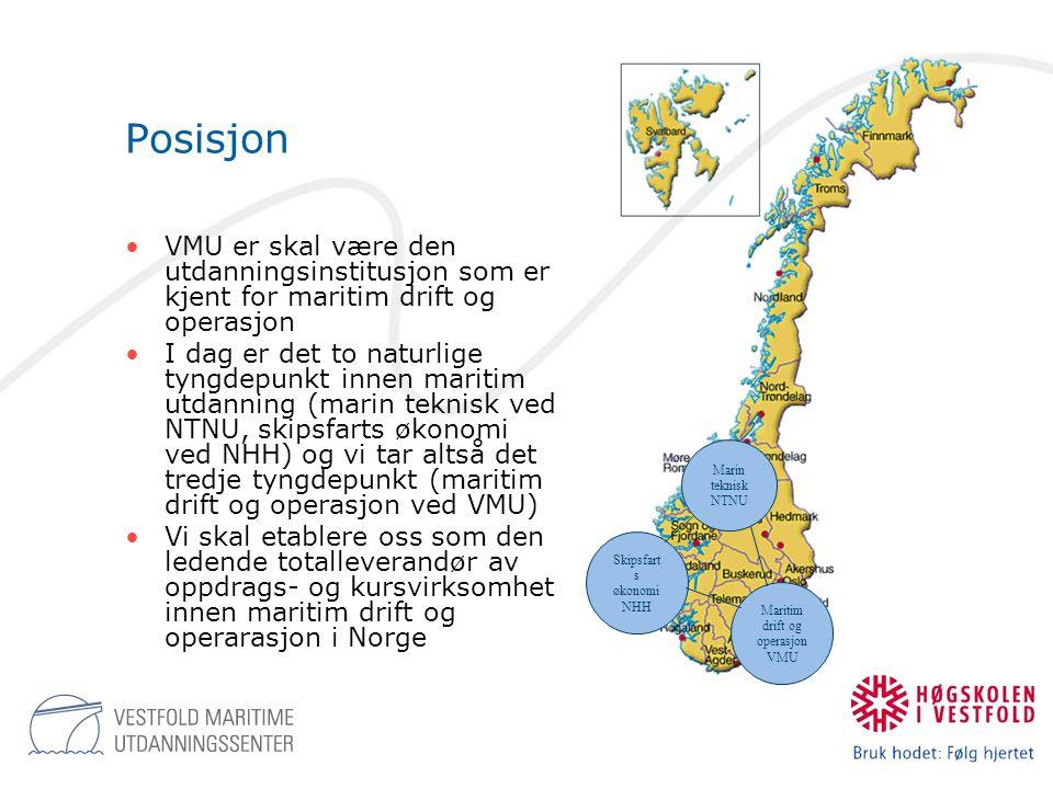 Posisjon Marin teknisk NTNU. Skipsfarts økonomi NHH. Maritim drift og operasjon VMU.