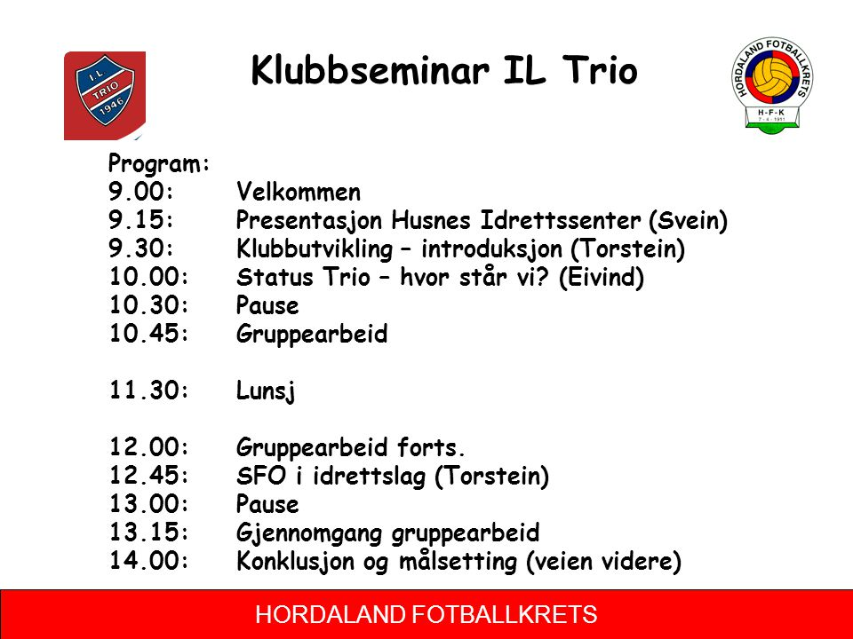 Klubbseminar IL Trio Program: 9.00: Velkommen