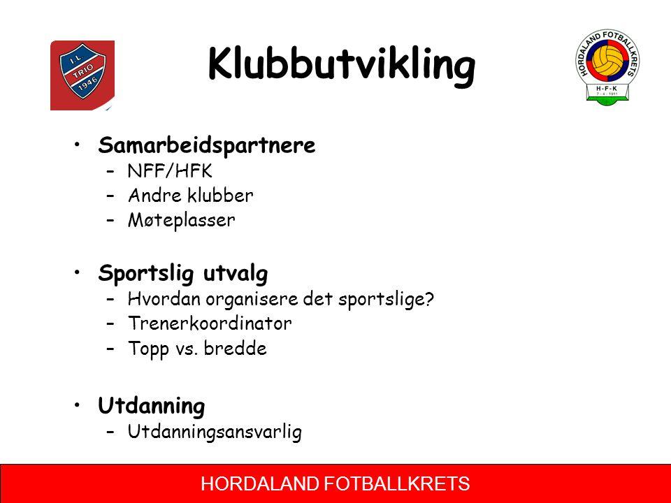 Klubbutvikling Samarbeidspartnere Sportslig utvalg Utdanning NFF/HFK