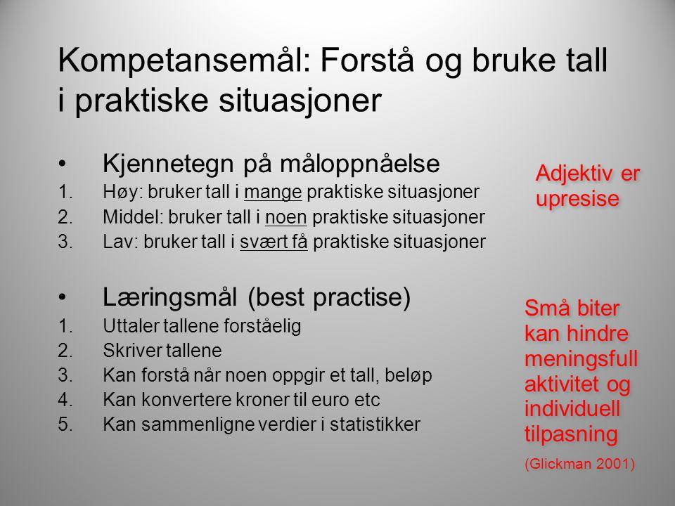 Kompetansemål: Forstå og bruke tall i praktiske situasjoner