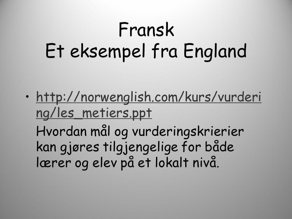 Fransk Et eksempel fra England