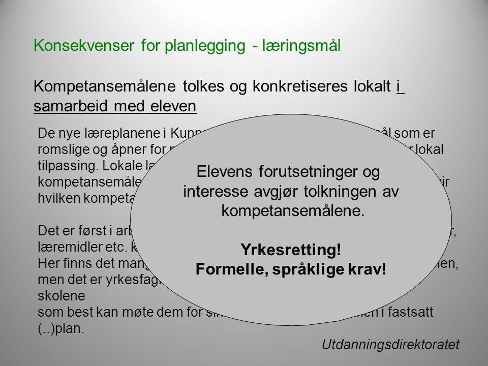 Formelle, språklige krav!