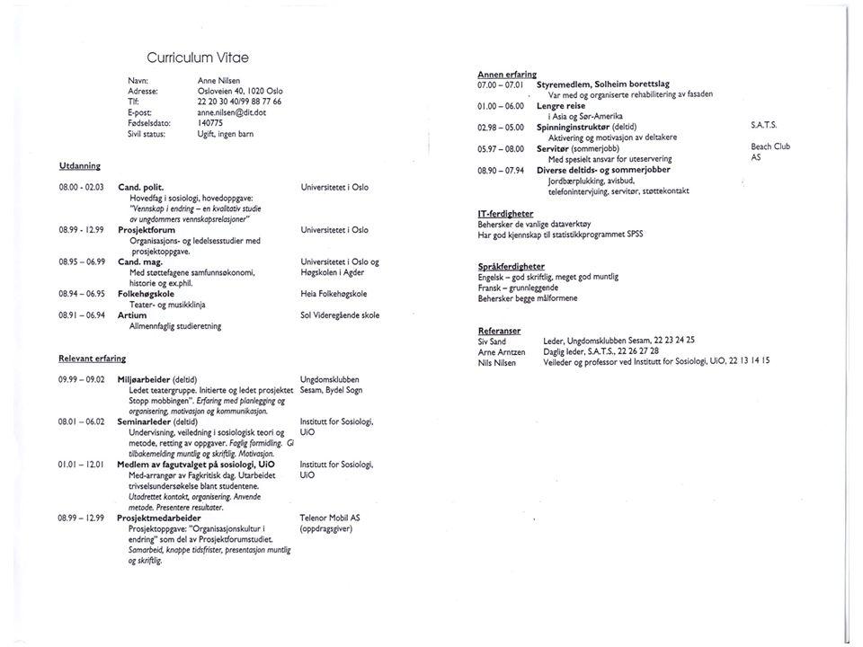 Eksempel på CV som dere kjenner igjen fra JSK
