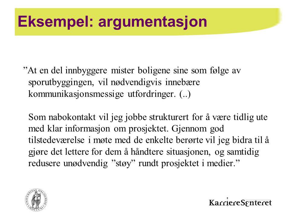 Eksempel: argumentasjon