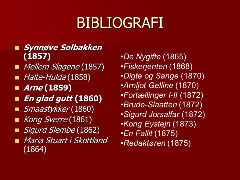 BIBLIOGRAFI Synnøve Solbakken (1857) Mellem Slagene (1857)