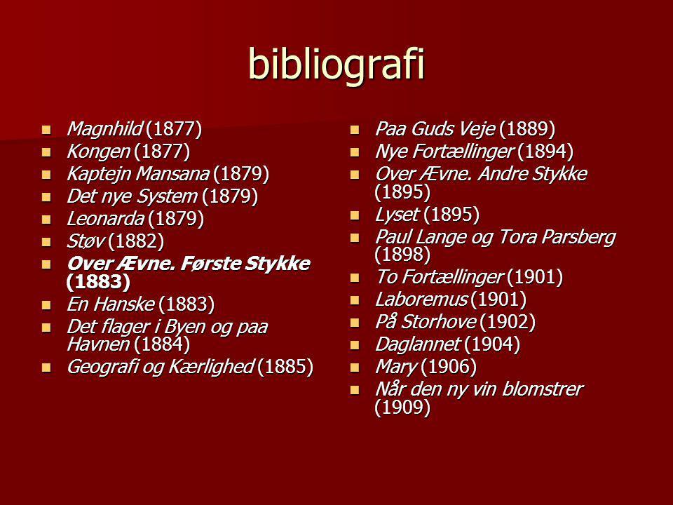bibliografi Magnhild (1877) Kongen (1877) Kaptejn Mansana (1879)