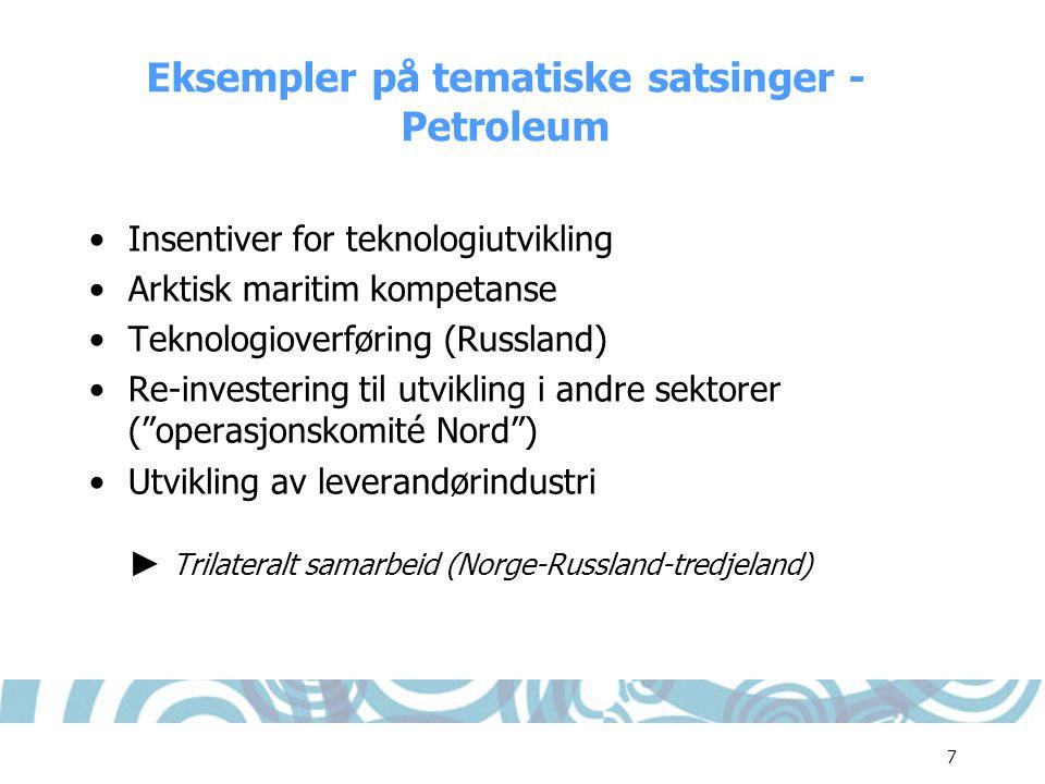 Eksempler på tematiske satsinger - Petroleum