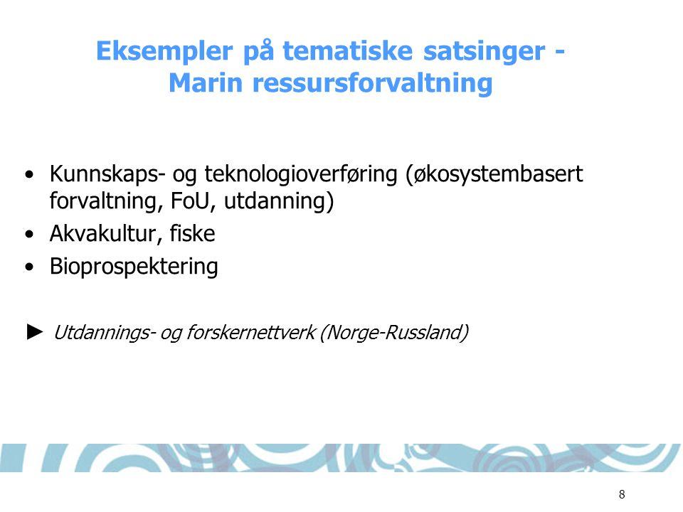 Eksempler på tematiske satsinger - Marin ressursforvaltning
