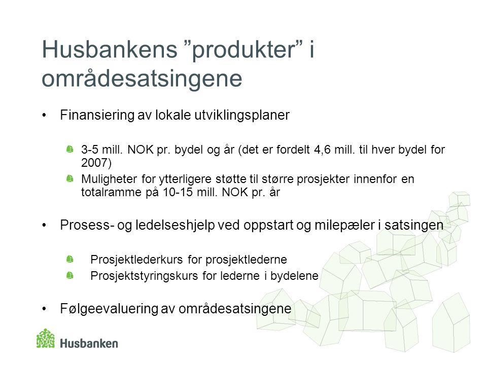 Husbankens produkter i områdesatsingene