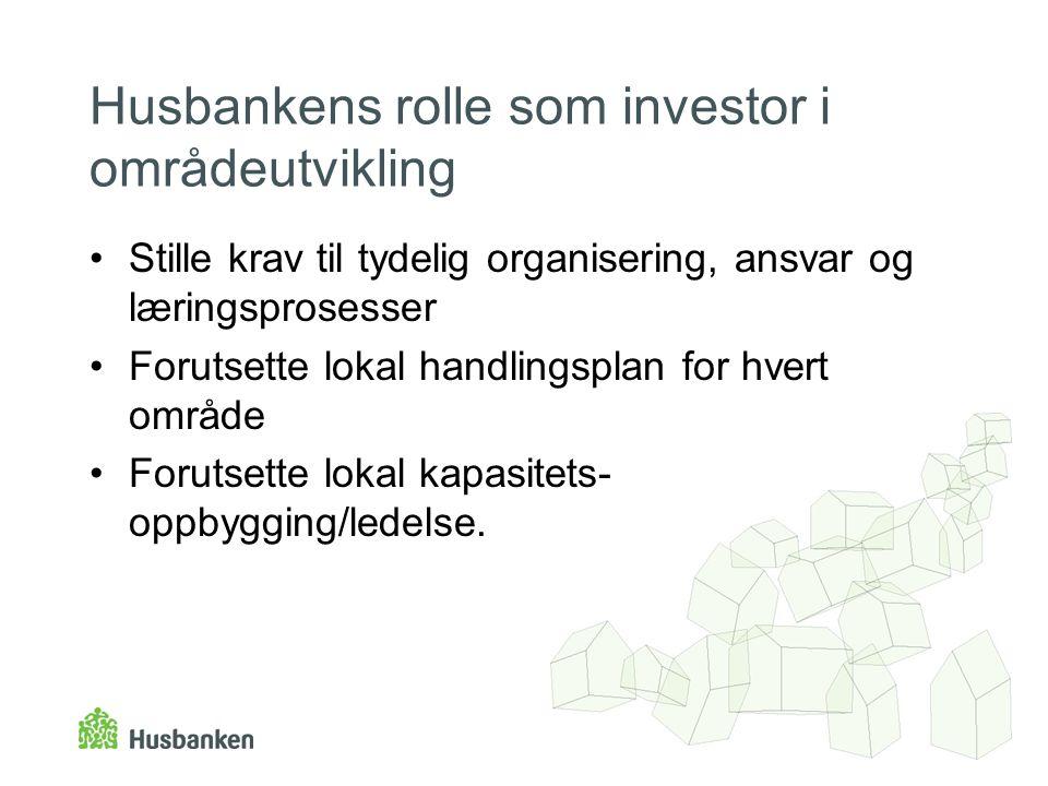 Husbankens rolle som investor i områdeutvikling