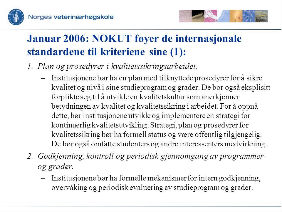 Januar 2006: NOKUT føyer de internasjonale standardene til kriteriene sine (1):