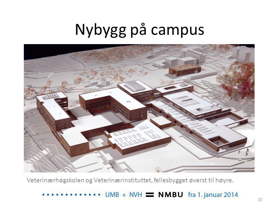Nybygg på campus Veterinærhøgskolen og Veterinærinstituttet, fellesbygget øverst til høyre.